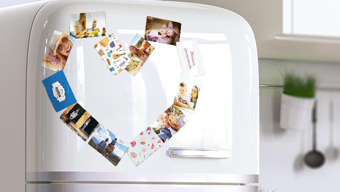 Votre réfrigérateur orné d'un cœur fait avec nos magnets photo