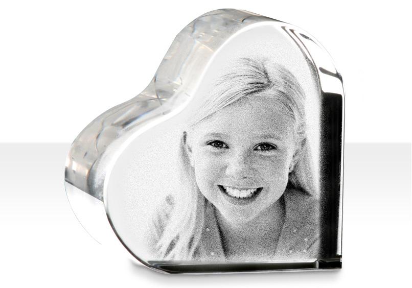 Cuore in cristallo con foto