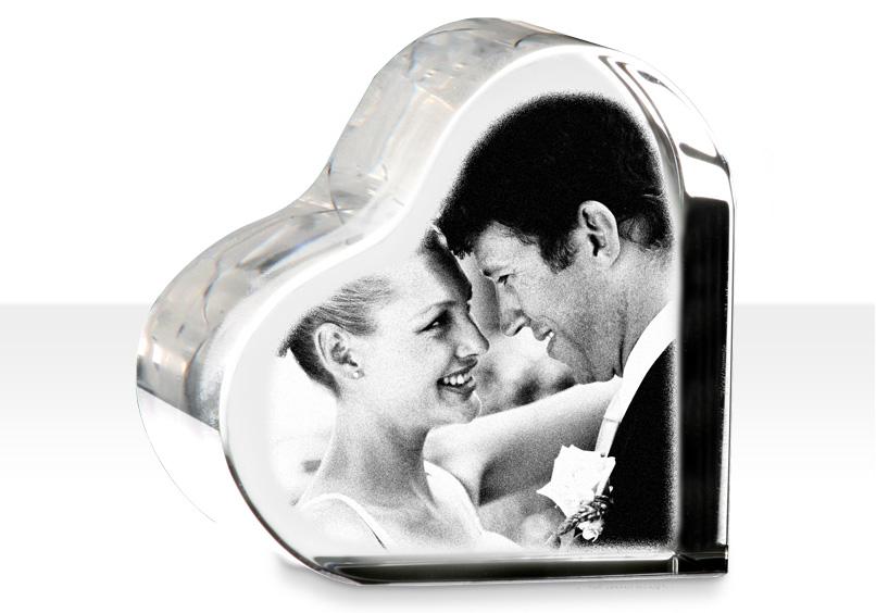 Cuore di cristallo con foto