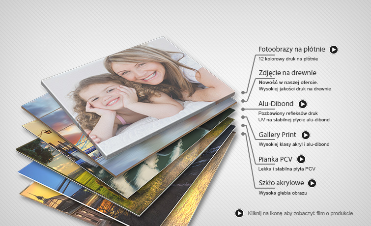 Rodzaje dostępnych materiałów dla naszych fotoplakatów i fotoobrazów.