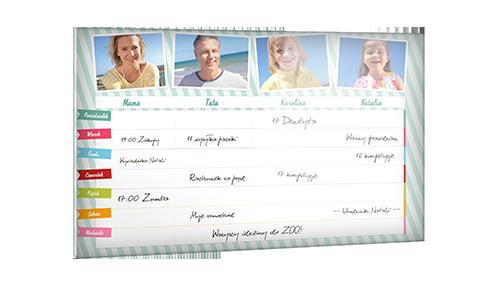 Planer rodzinny za szkłem akrylowym