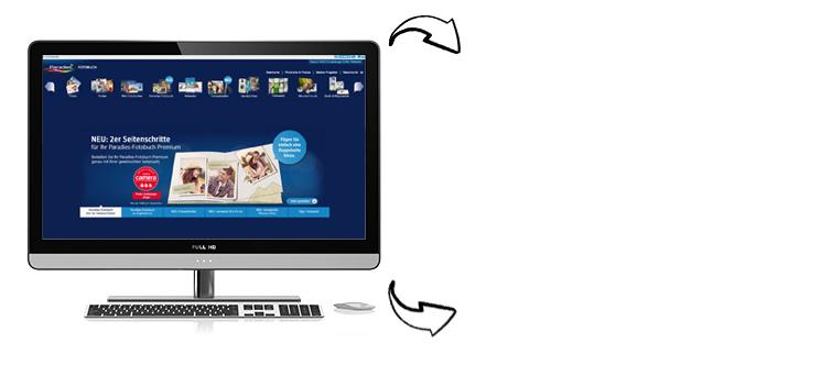 Mit der kostenlosen Paradies-Fotobuch Bestellsoftware haben Sie die Möglichkeit alle dm Fotoprodukte zu bestellen
