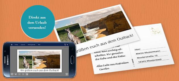Einzelpostkarte mit Foto-Paradies App