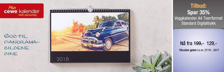 Veggkalender A4 Tverrformat
